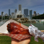 BBQ turkey leg at 2018 Taste of Chicago with Buckingham Fountain