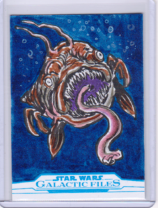 2018 TOPPS STAR WARS GALACTIC FILES SKETCH CARD BY GLENN SAVAGE Opee Sea Killer