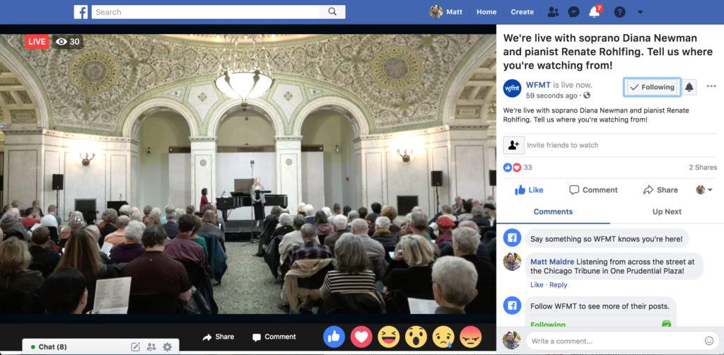 wfmt concert at chicago cultural center live stream on facebook