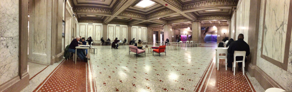 Panoramic photo of Randolph Square in Chicago Cultural Center