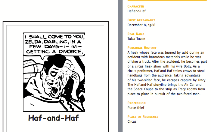 Character description for Haf-and-Haf, Dick Tracy rogue