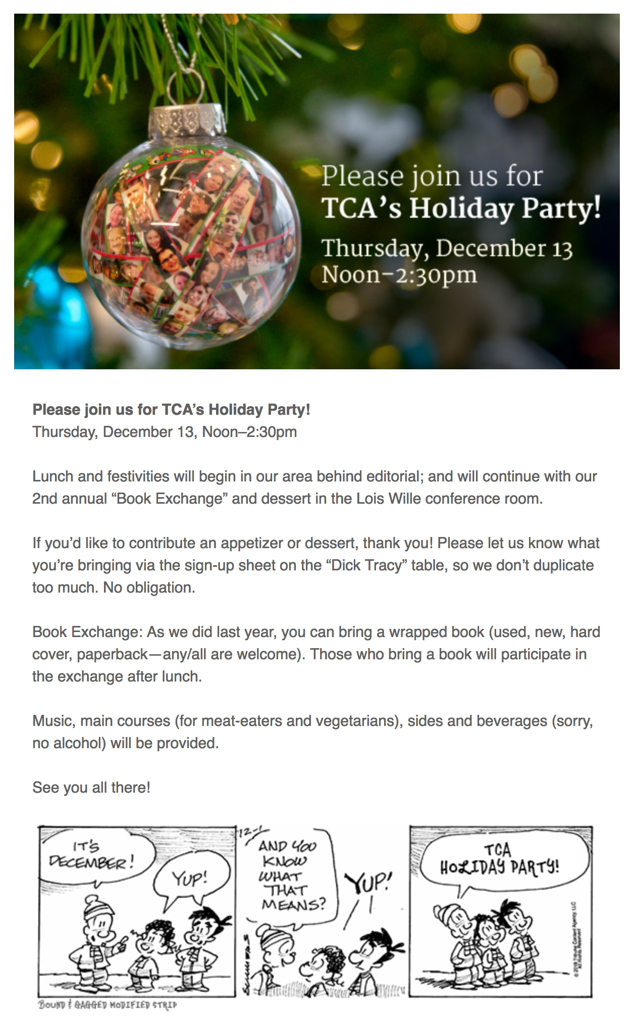 TCA Holiday invite: email
