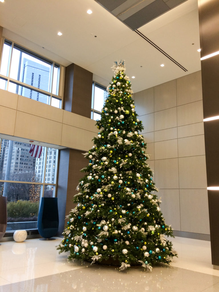 Christmas tree in the Prudential Building lobby, Chicago