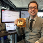 Matt Maldre holding Ewok mug at Chicago Tribune office