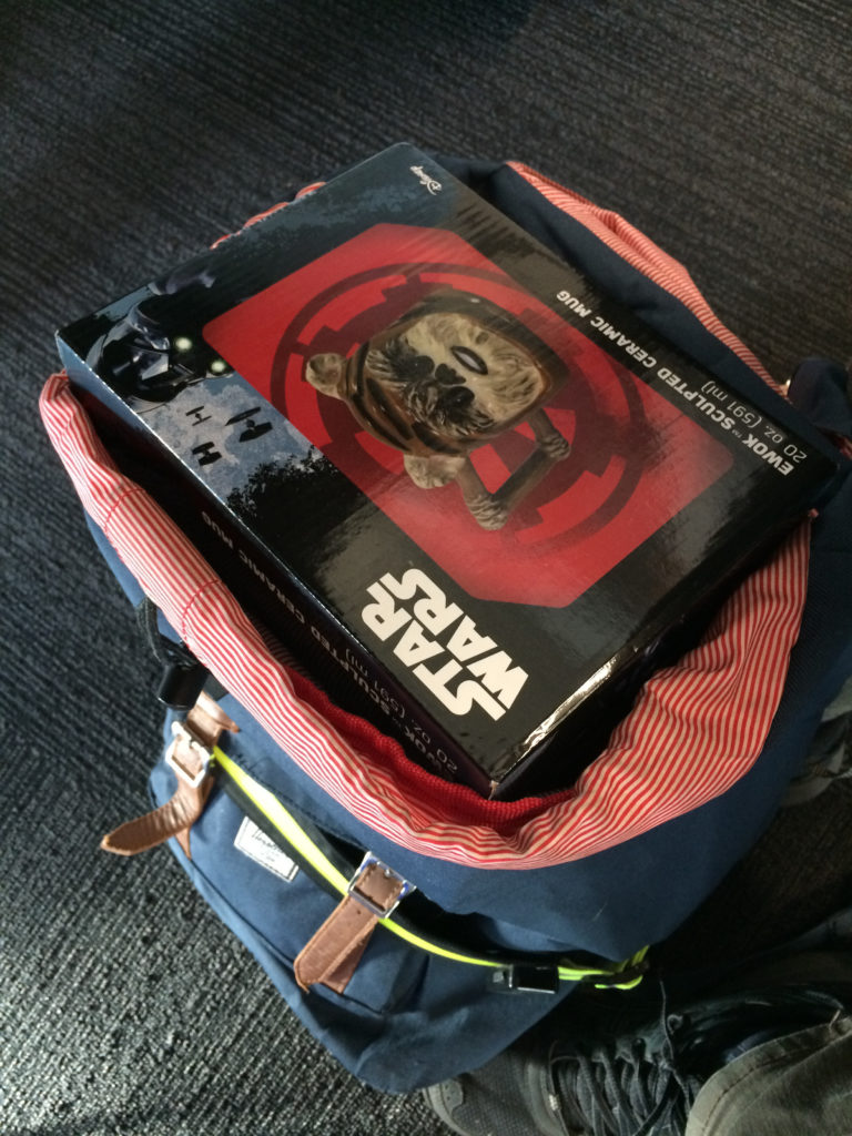 Size of ewok mug box inside my backpack