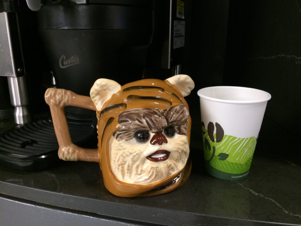 Size of ewok mug to scale with a coffee cup, in Chicago Tribune