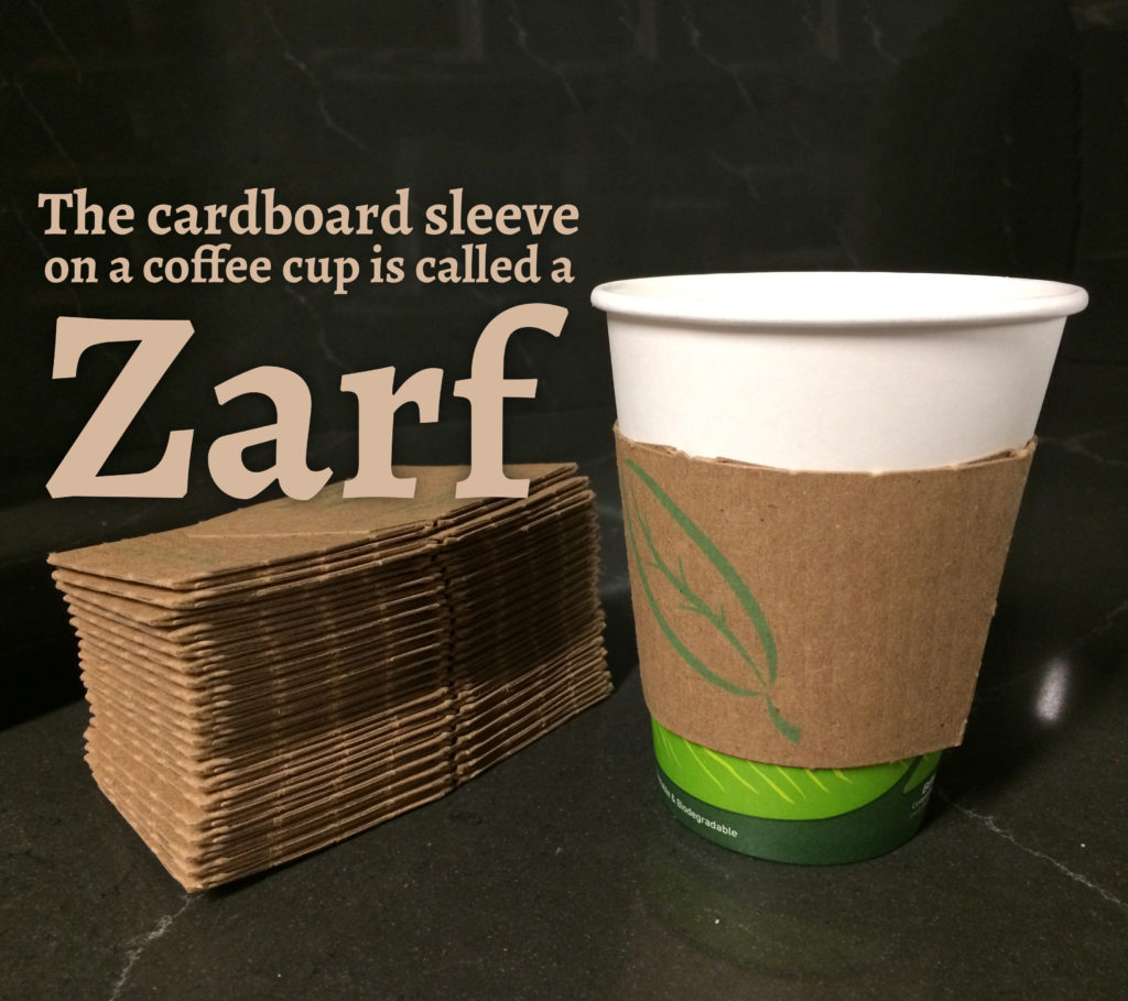 coffee cardboard sleeve is called a Zarf