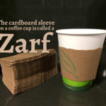 The name for coffee cup cardboard sleeves is Zarf