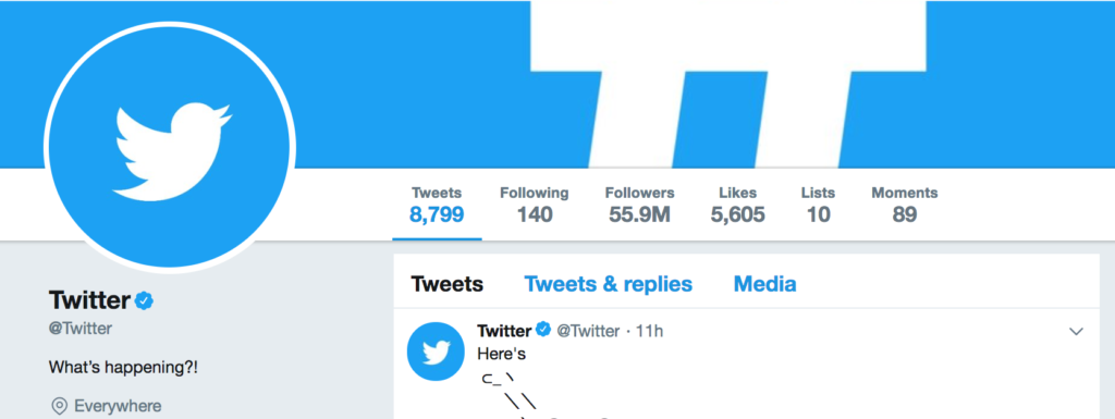 2. @twitter (letter t repeated twice times)