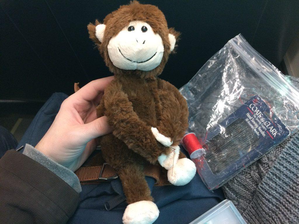Happy monkey with sewed leg