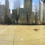 empty plaza at Millennium Park