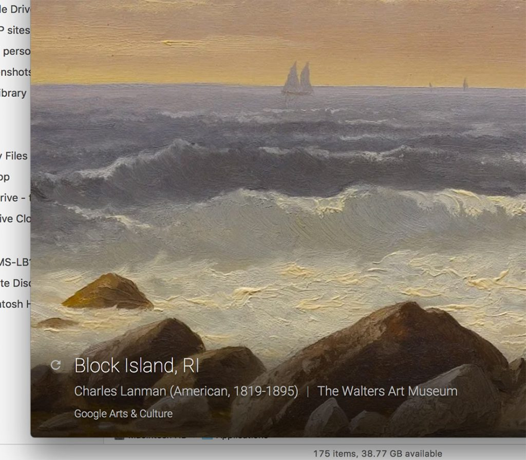 "Detailed texture of ""Block Island, RI"" by Charles Lanman"