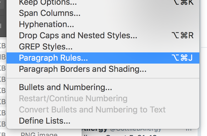 Adobe InDesign Paragraph Rules shortcut command option j