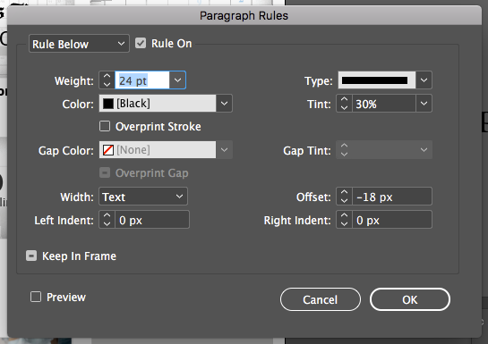 Adobe InDesign: paragraph rules box