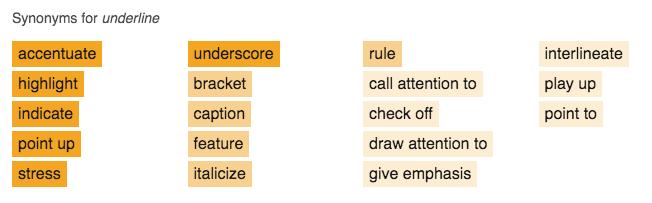 thesaurus synonyms for underline