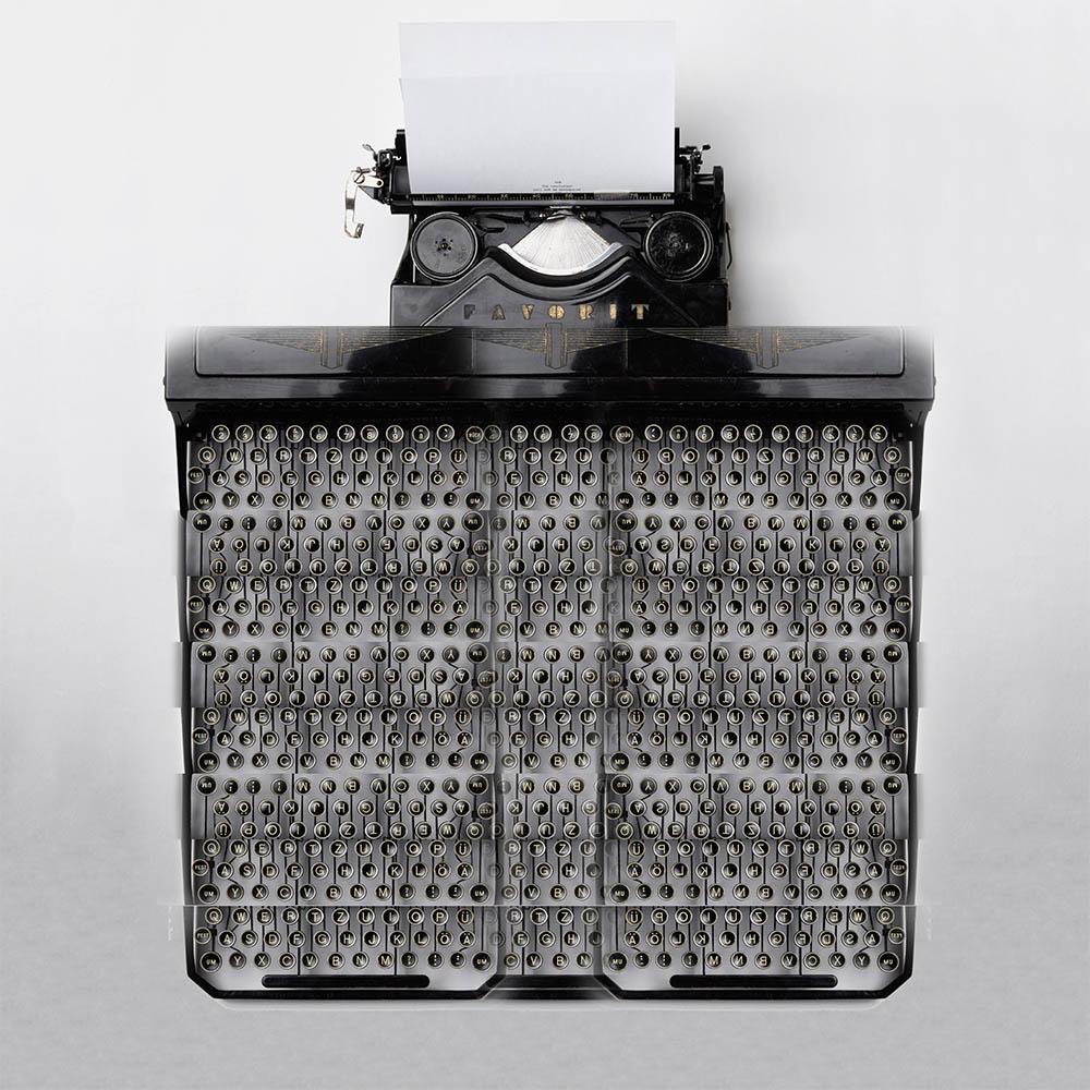 Photoshopped image of a typewriter with 675 keys