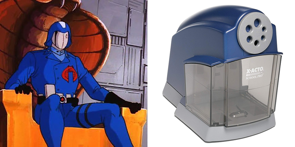 Cobra Commander helmet and The X-ACTO School Pro Classroom Electric Pencil Sharpener
