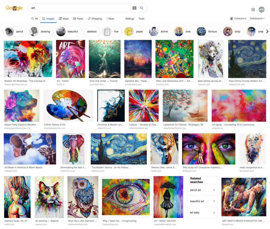 Google image results for: art