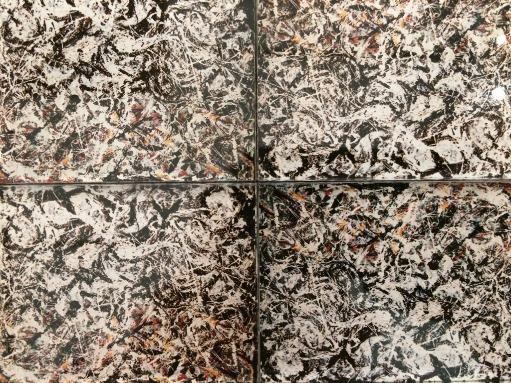 "Four tiles of Jackson Pollock ""Greyed Rainbow"" in acrylic magnet"