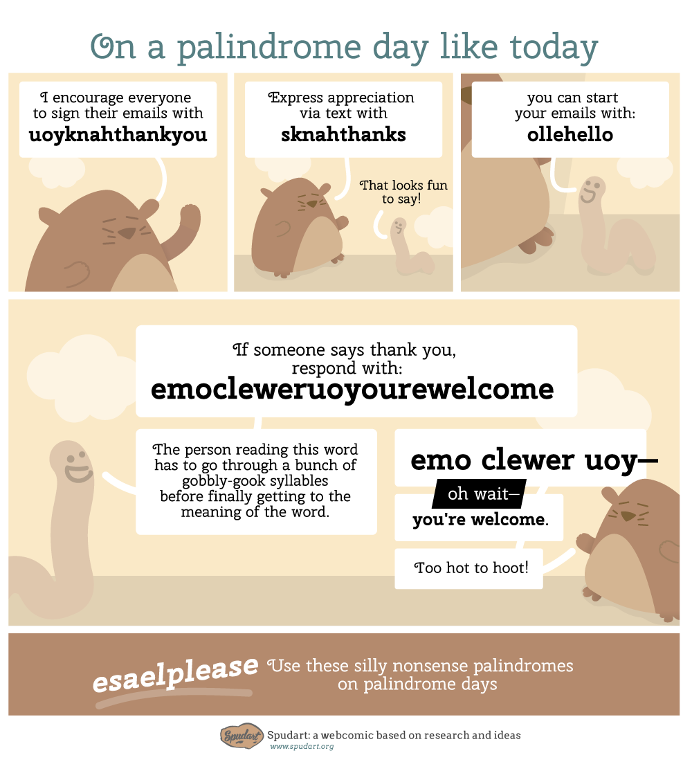 Silly words to use in messages on a palindrome day