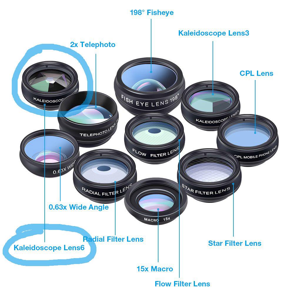 Akinger 10 in 1 Phone Lens Kit 2 Pcs Kaleidoscope Lens