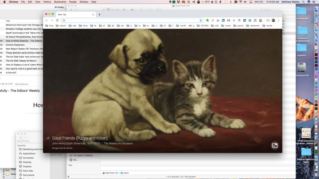 """Good Friends (Puppy and Kitten)"" by John Henry Dolph, via Google Arts & Culture Chrome extension"