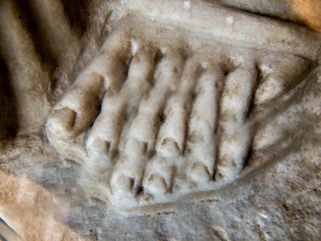 Statue of the Muse Melpomene (foot through kaleidoscope lens)