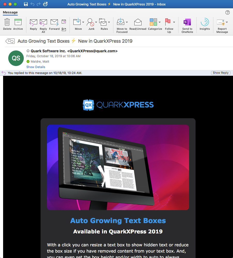 screenshot of email from Quark: Auto Growing Text Boxes New in QuarkXPress 2019