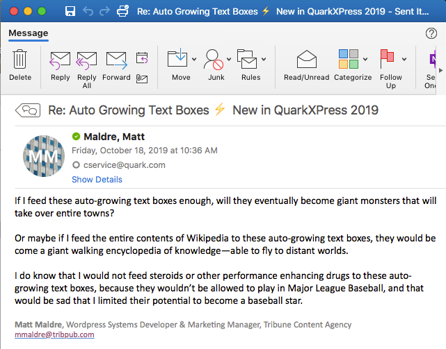 Screenshot of email to quark about auto-growing text boxes