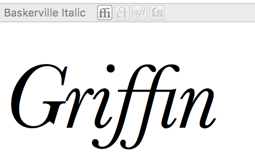 Griffin with ligatures for ff and fi: Baskerville Italic