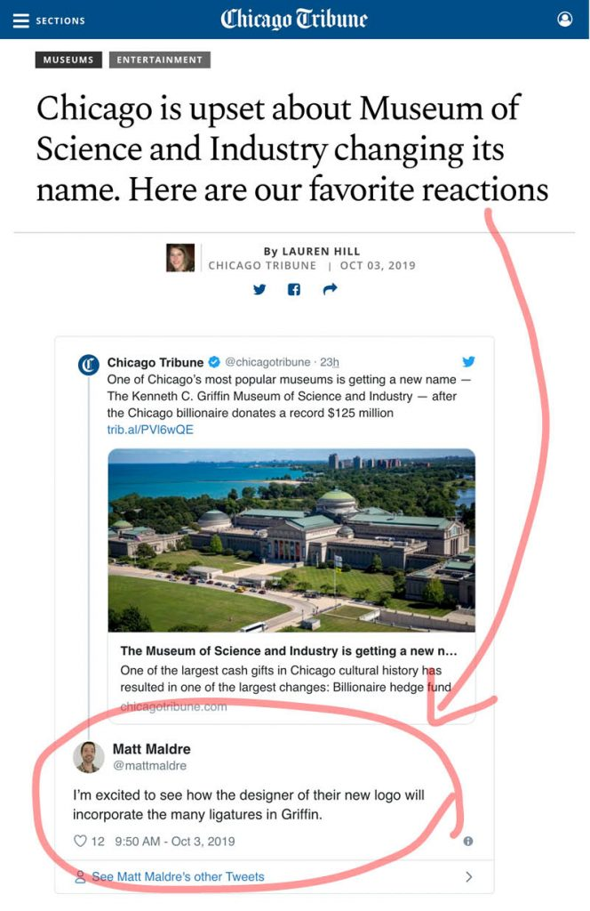 Screenshot of Chicago Tribune article: tweets about Museum Science and Industry rename