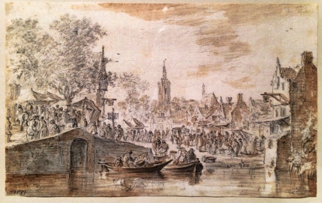 "My photograph of ""Market near a Canal"", 1651 by Jan van Goyen"