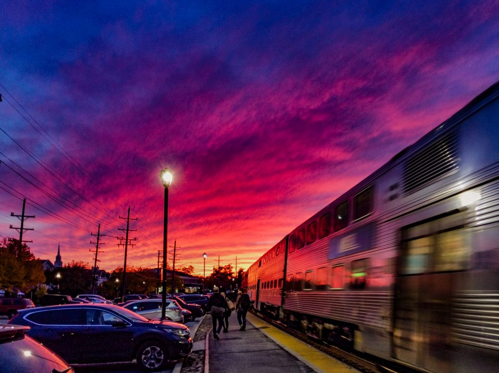 Glen Ellyn Metra train at sunset