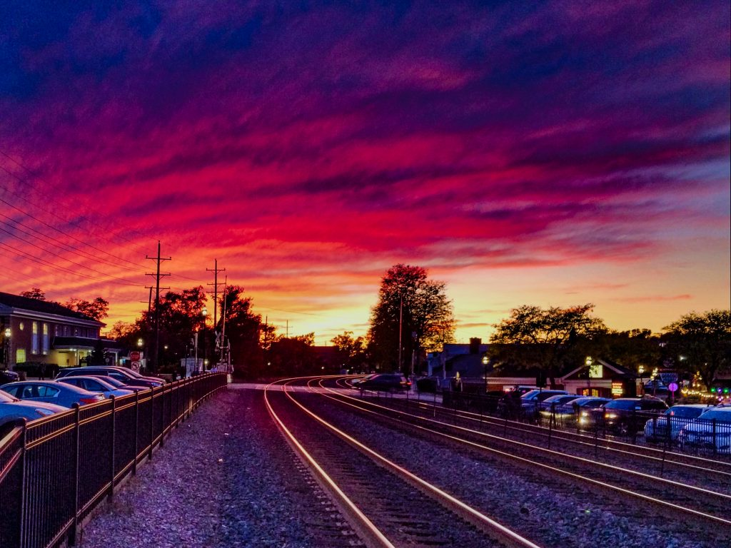 Glen Ellyn Metra train tracks at sunset