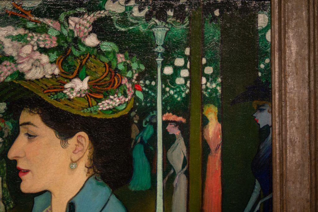 """Background lights detail (""""An Elegant Woman at the Élysée Mont"""