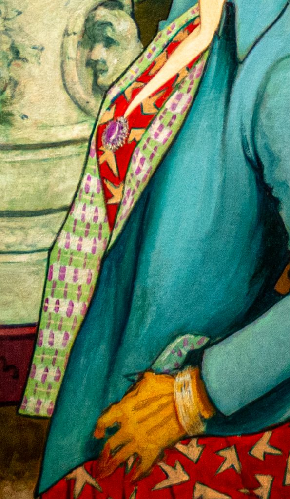Detail of jacket and dress prints