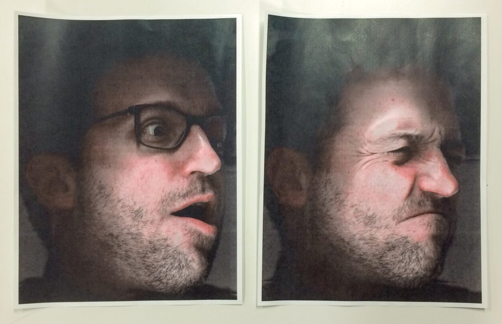 Two self-portraits using xerox machine, January 15, 2020