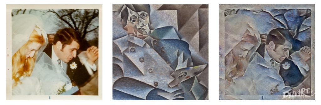 Juan Gris style applied to wedding photo