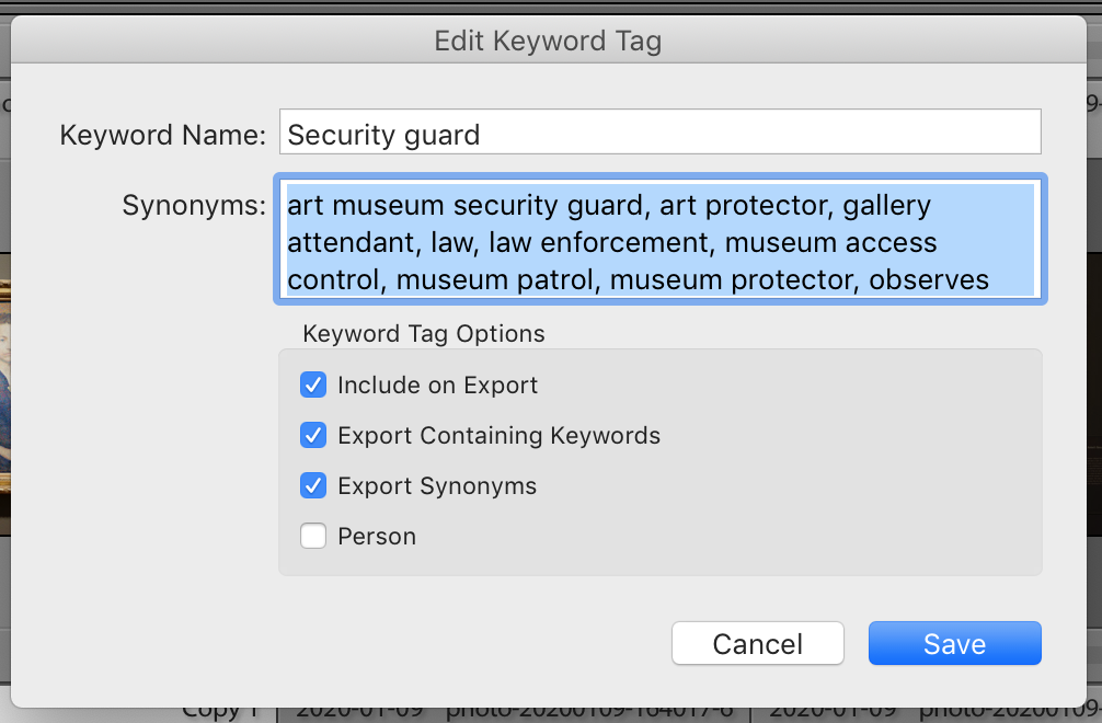 synonyms for security guard (adobe lightroom keywords)