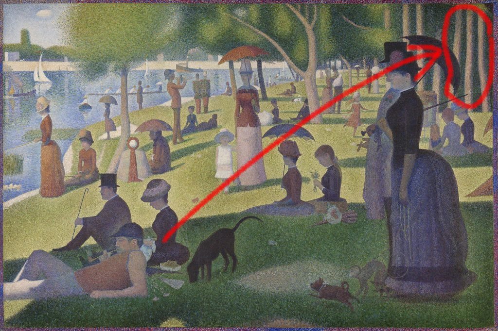 Tree trunks detail in 1926.224 - A Sunday on La Grande Jatte by Georges Seurat