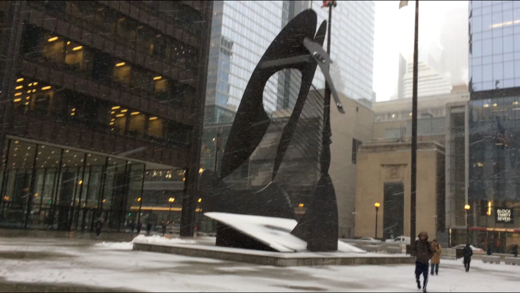 Chicago Picasso in the snow