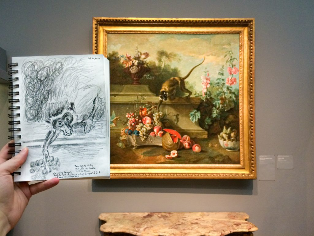 Pencil sketch of Still Life with Monkey, Fruits, and Flowers