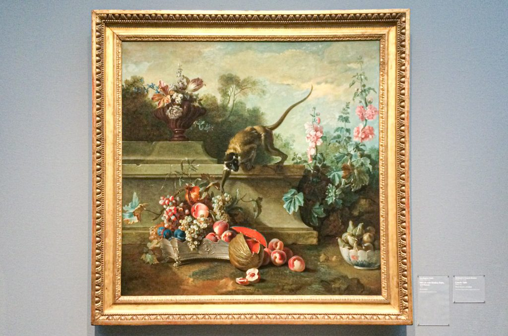 Still Life with Monkey, Fruits, and Flowers by Jean Baptiste Oudry