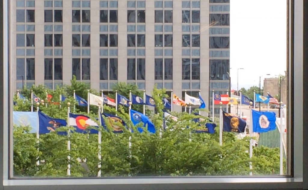 View of Aon Center state flags from my window at work