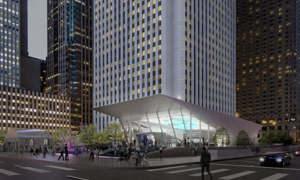 Aon center plaza redesign with no state flags