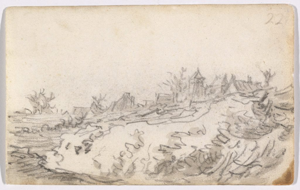 Village on Sunny Hillside by Jan van Goyen