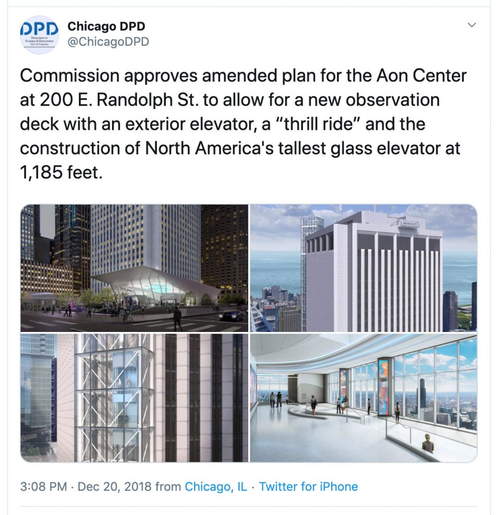 "Commission approves amended plan for the Aon Center at 200 E. Randolph St. to allow for a new observation deck with an exterior elevator, a ""thrill ride"" and the construction of North America's tallest glass elevator at 1,185 feet."