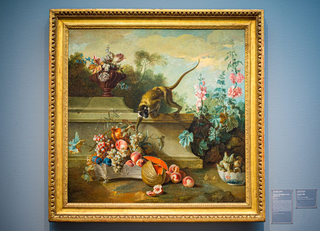 """""""Still Life with Monkey Fruits and Flowers"""" by Jean Baptiste Oudry, 1724"""
