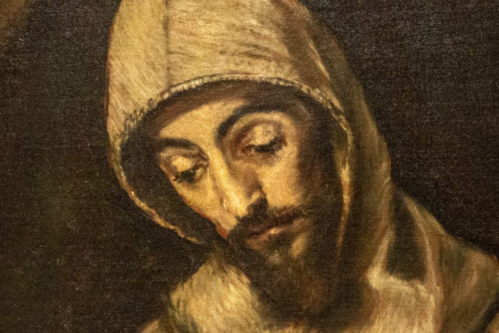 """Detail of face in """"Saint Francis and Brother Leo Meditating on Death"""" by El Greco"""