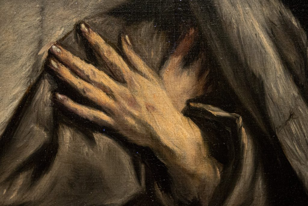 "Detail of hands in ""Saint Francis Kneeling in Meditation"" by El Greco"